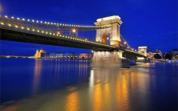 chain bridge hungary night city 1920x1200 مجارستان
