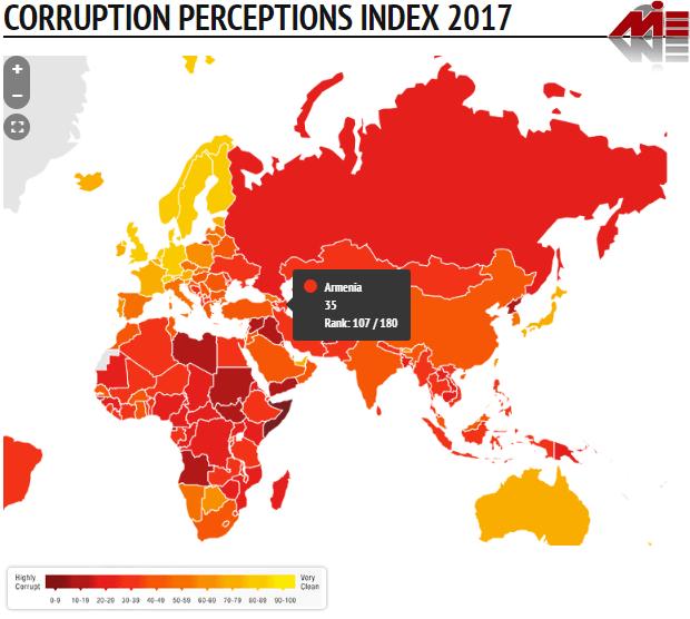 شاخص ادراک فساد در ارمنستان خرید ملک در ارمنستان