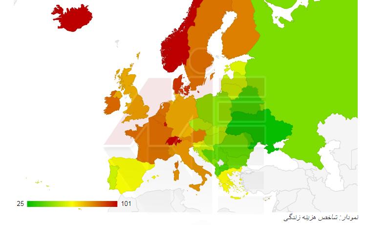 نمودارشاخص هزینه زندگی در اروپا اقامت دندانپزشکان در اروپا