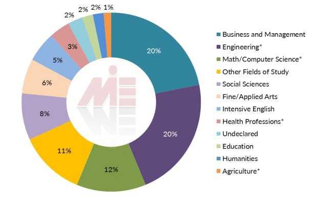 آمار دانشجویان بین المللی در آمریکا براساس شاخه تحصیلی تحصیل مهندسی آمریکا