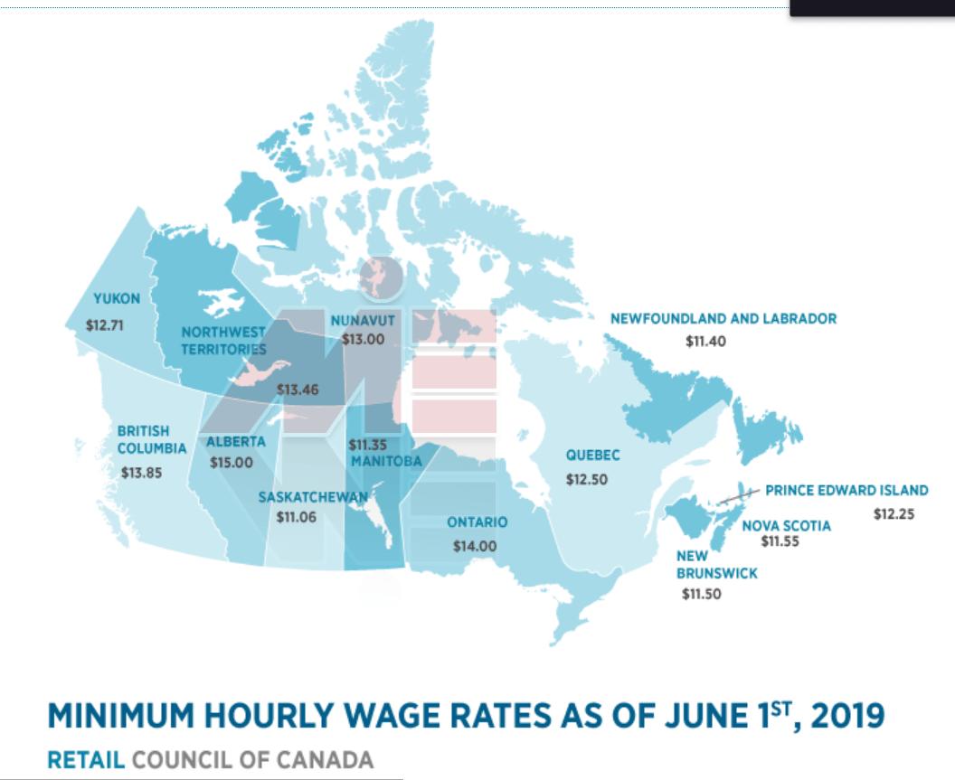 دستمزد ساعتی در هر استان کانادا اقامت کانادا از طریق کار